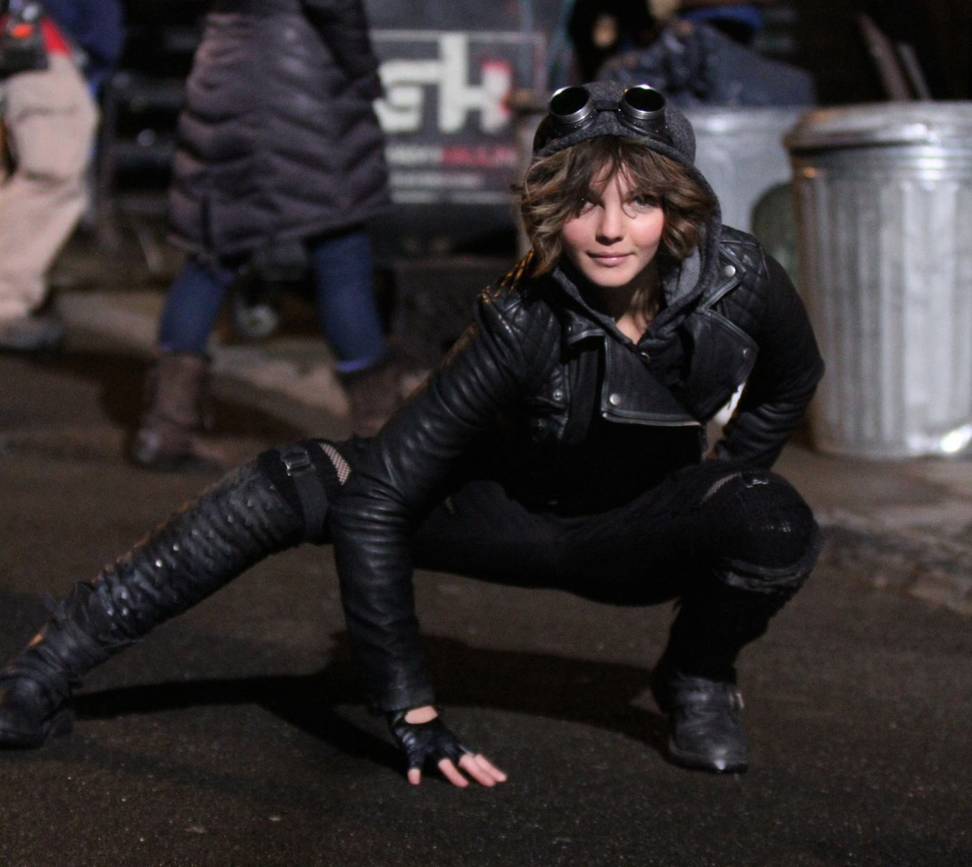 Camren Bicondova who plays Selina Kyle was pictured on her Catwoman costume on the set of the 'Gotham' TV series in Downtown, Manhattan, New York City