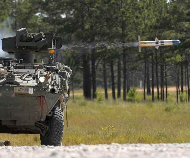 FORT POLK, La. - A Stryker vehicle belonging to the 4th Stryker Brigade Combat Team, 2nd Infantry Division, based out of Ft. Lewis, Wash., fires a tube-launched, optically-tracked, wire-guided missile at a range during the brigade's rotation through Fort Polk's, Joint Readiness Training Center. (US Army photo by Pfc. Victor J. Ayala, 49th Public Affairs Detachment (Airborne))