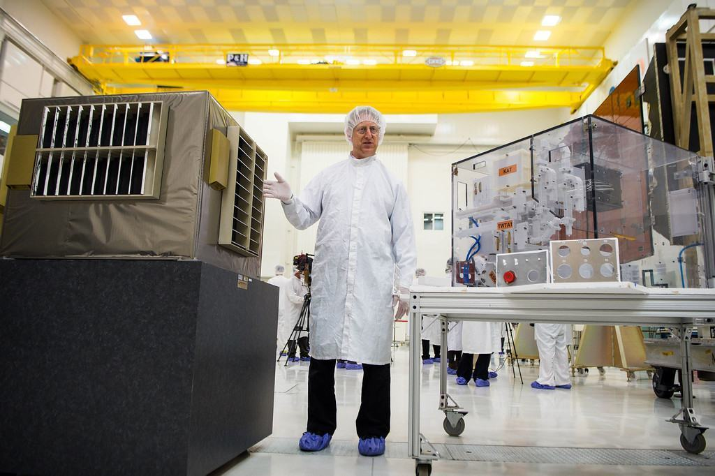 Steve Levin, Juno project scientist, shows in JPL's clean room on June 9, 2016 how they prepared Juno spacecraft for the hazardous radiation environment of Jupiter with a titanium radiation vault to protect its instruments. Juno is scheduled to be captured into Jupiter's orbit on July 4. (Photo by Sarah Reingewirtz/Southern California News Group)