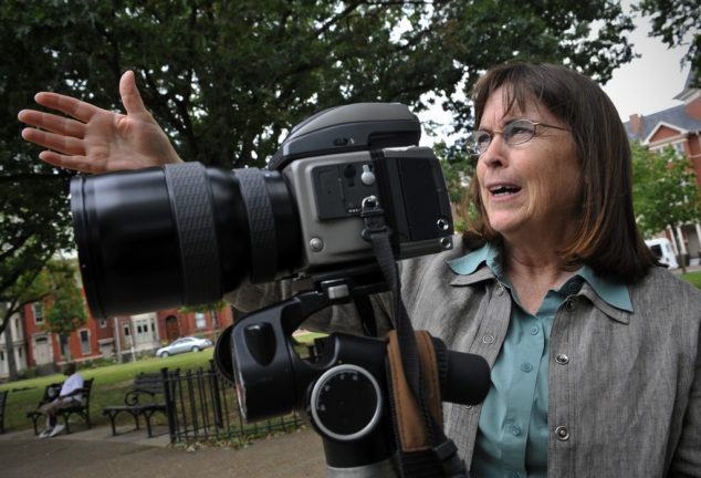 WASHINGTON, DC - SEPTEMBER 16: Photographer Carol Highsmith, sighting in a shot in Logan circle, is on a multi-year quest to document America in pictures which she is donating copyright free to the Library of Congress,  September, 16, 2010 in Washington, DC. (Photo by Bill O'Leary/The Washington Post)