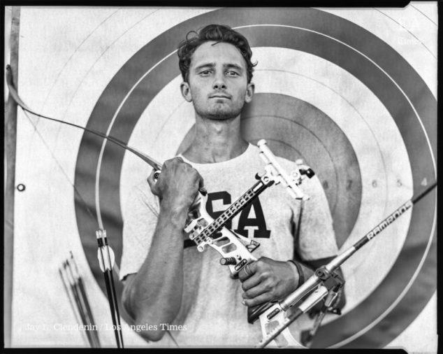 CHULA VISTA, CA --JUNE 22, 2016 -- Zach Garrett will be part of the U.S.A. Archery team, at the 2016 Rio Olympics and is photographed at the Olympic Training Center in Chula Vista, CA,June 22, 2016. This is Garrett's first Olympics. (Jay L. Clendenin / Los Angeles Times)