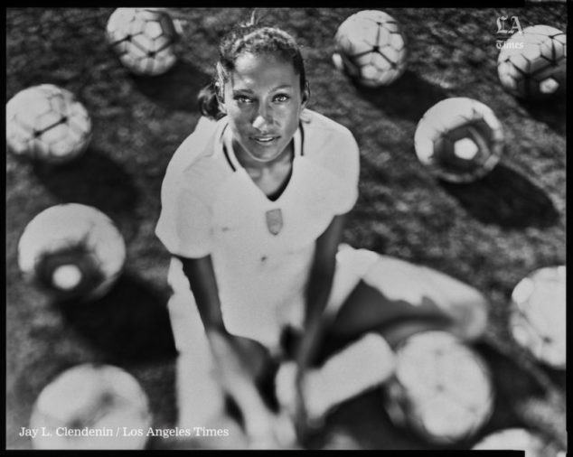 PALOS VERDES, CA --JUNE 24, 2016 -- Christen Press, a forward with the Women's National Team, will compete at the 2016 Rio Olympics and is photographed at Chadwick School, where she is an alum, in Palos Verdes, CA,June 24, 2016. (Jay L. Clendenin / Los Angeles Times)