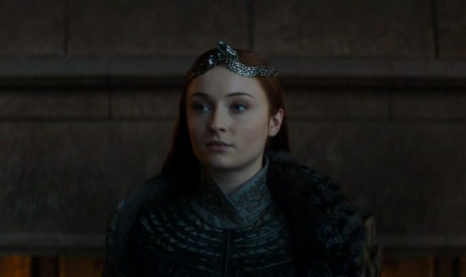Sansa Rainha em cena do episódio final de Game of Thrones