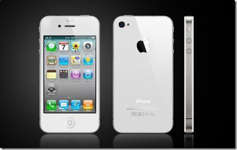 Front, back, and side views of iPhone 4 in white