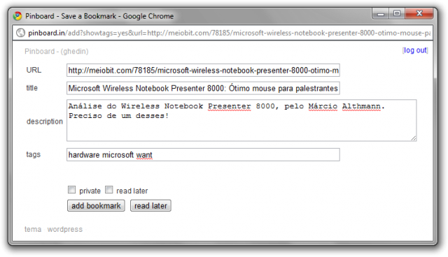 Bookmarklet do Pinboard.