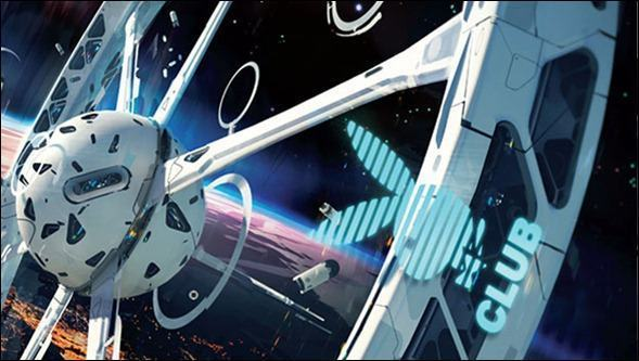 The Playboy Club in space will be on a station in orbit, like a cruise ship.