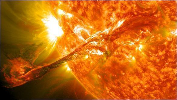On August 31, 2012 a long filament of solar material that had been hovering in the sun's atmosphere, the corona, erupted out into space at 4:36 p.m. EDT. The coronal mass ejection, or CME, traveled at over 900 miles per second. The CME did not travel directly toward Earth, but did connect with Earth's magnetic environment, or magnetosphere, causing aurora to appear on the night of Monday, September 3. 
