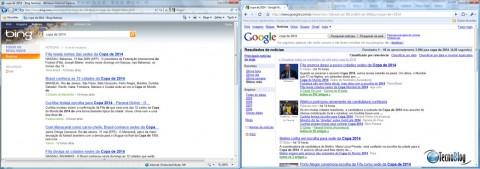 """Busca por """"copa de 2014"""" no Bing e no Google. (Clique para ampliar)"""