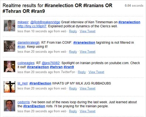Twits relacionados a manifestações no Irã.