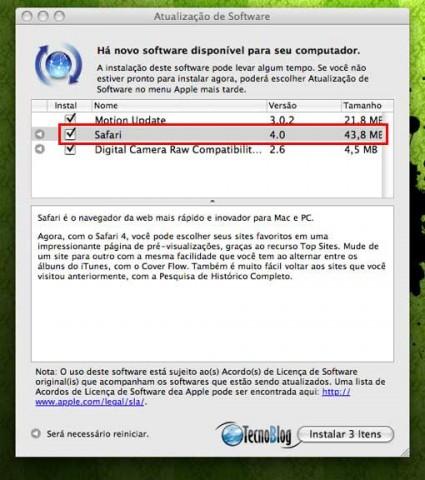 Safari 4 disponível para download. (Clique para ampliar)