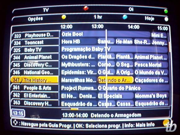 Oi TV: grade de programação.