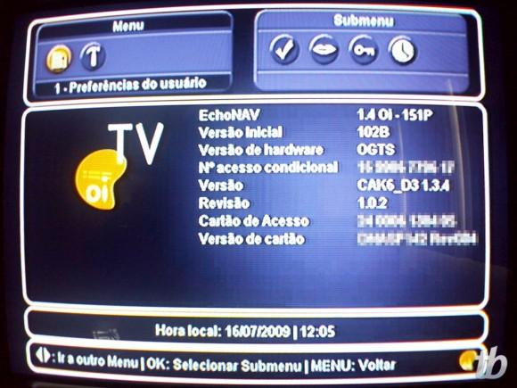 Oi TV: tela com especificações do decodificador.