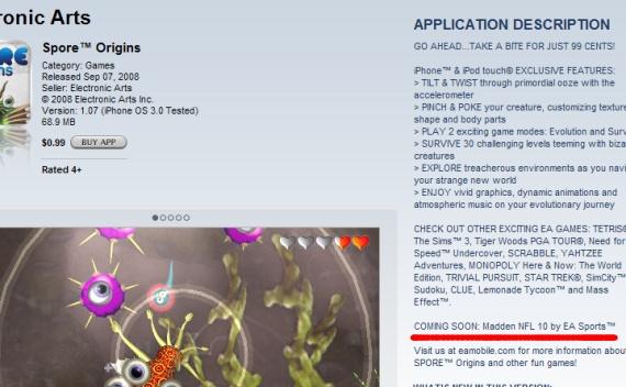 Página de Spore na App Store