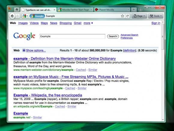 Firefox 4 com abas na parte superior. (Reprodução)