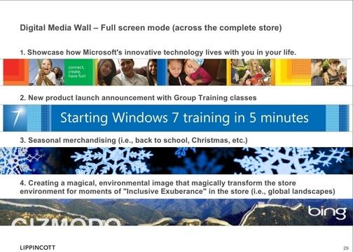 Exemplos de como o display gigasteco poderia ser usado. (Gizmodo)
