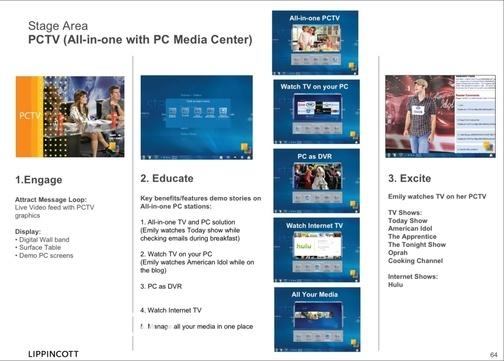 Área da loja dedicada ao PCTV (com Windows Media Center). (Gizmodo)
