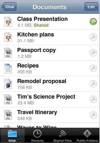MobileMe iDisk exibe documentos no iPhone OS. (Reprodução)