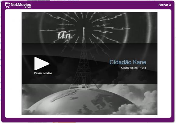 Player de vídeo do NetMovies Live. (Clique para ampliar)
