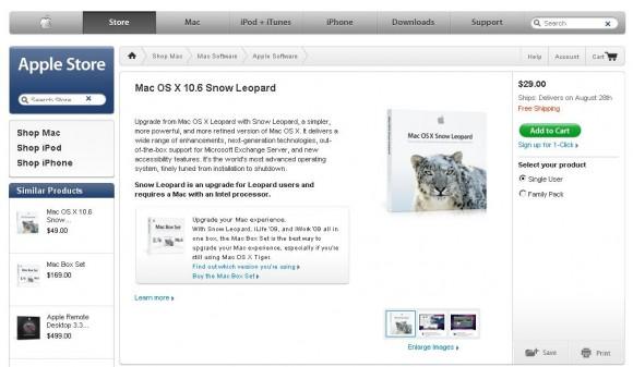 Snow Leopard dispon~ivel para pré-venda (clique para ampliar)