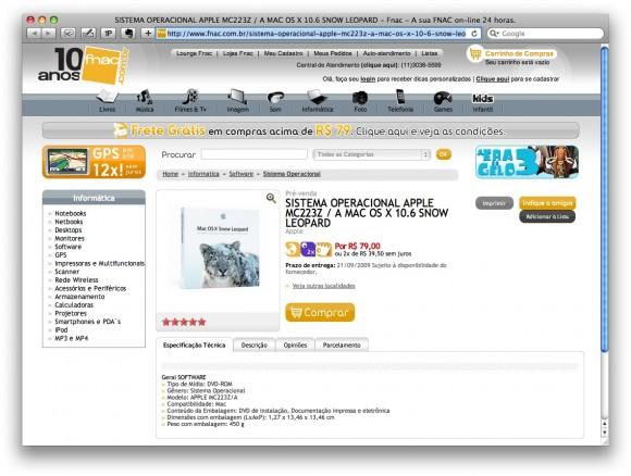 Snow Leopard em pré-venda na Fnac: 21 de setembro (clique para ampliar)