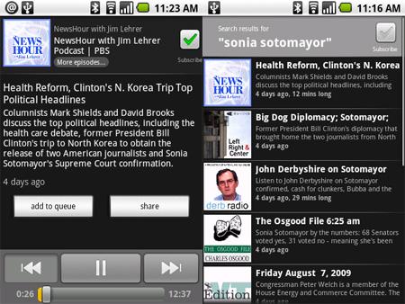 Exemplo de podcast e busca salva (clique para ampliar)