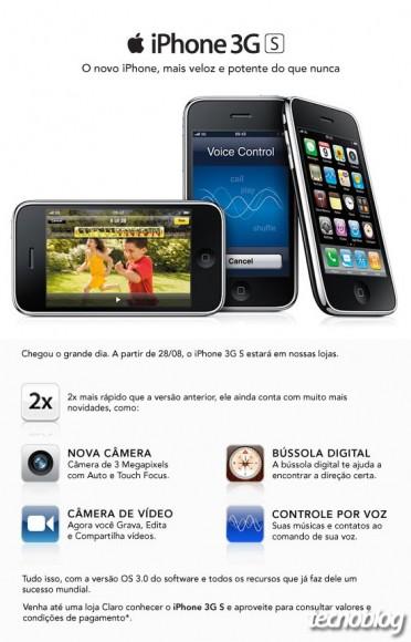 Mensagem da Claro sobre iPhone 3GS. (Clique para ampliar/Reprodução)