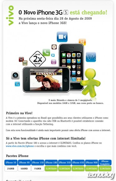 Mensagem da Vivo sobre iPhone 3GS. (Clique para ampliar/Reprodução)