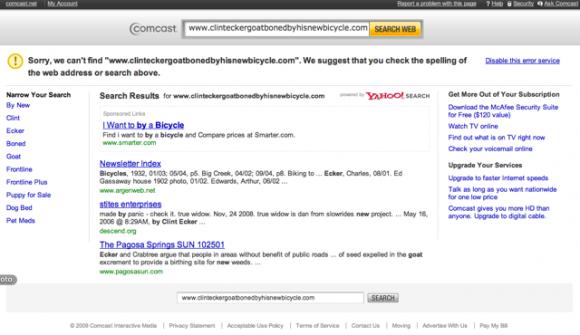 Página de erro oferece links patrocinados. (+)