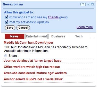 """iGoogle australiano: opção de """"socializar"""" os plugins. (Reprodução)"""