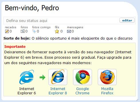 Acessar Orkut com Internet Explorer 6? Não mais. (Reprodução/Pinceladas da Web)