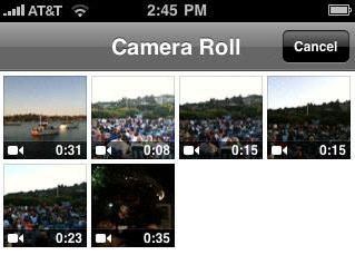 Qik no iPhone 3GS: biblioteca de vídeos.
