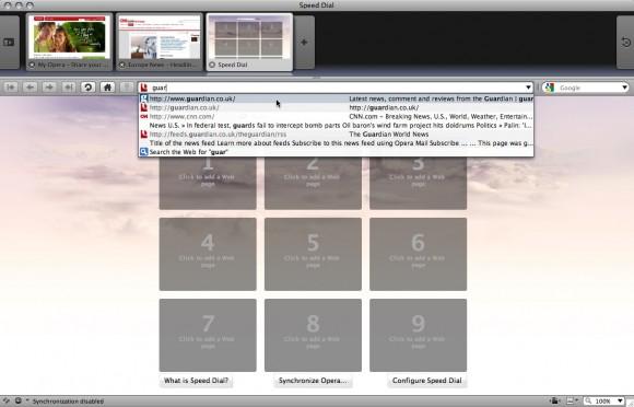 Opera 10: Abas visuais e Speed Dial (clique para ampliar)