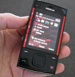 Nokia X3 no menu inicial