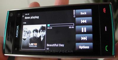 Nokia X6 em modo de media player