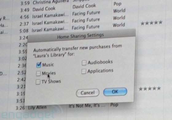 """Home Sharing: """"Transferir automaticamente novas compras da biblioteca de Laura""""."""