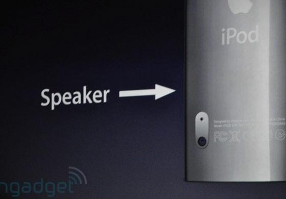 Câmera e saída de som no iPod Nano. (Engadget)