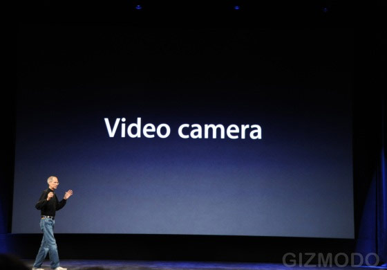 Steve Jobs fala das câmeras de vídeo. (Gizmodo)