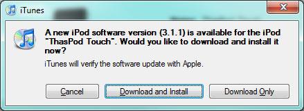 Atualização do iPod Touch já está disponível.