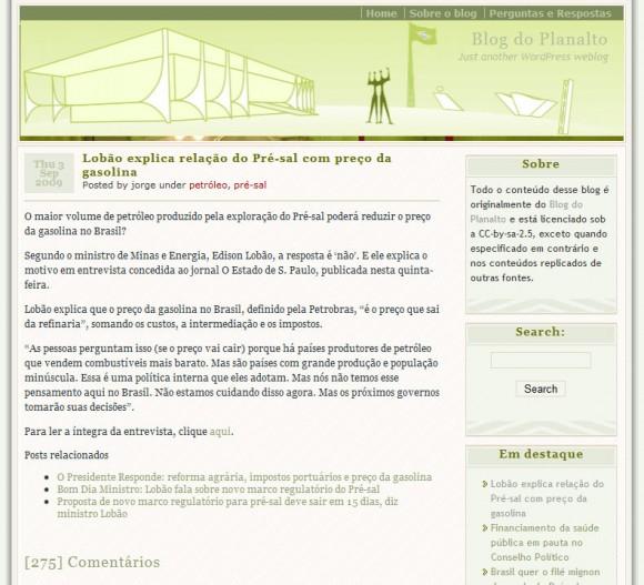 Blog do Planalto não-oficial: mais de 200 comentários. (Reprodução)
