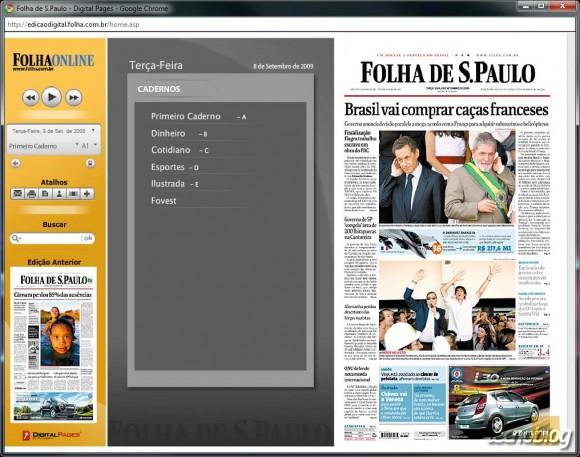 Edição Digital da Folha de São Paulo, em Flash. (Clique para ampliar)