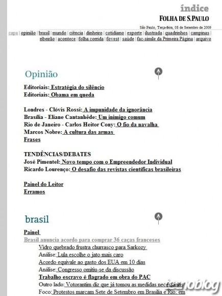 Antiga Folha de São Paulo na internet. (Clique para ampliar)