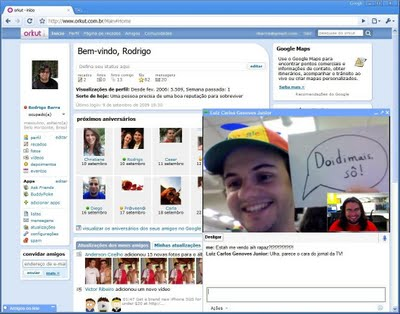Chat através de vídeo do Orkut. (Reprodução)