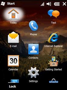 Windows Mobile 6.5 em funcionamento.