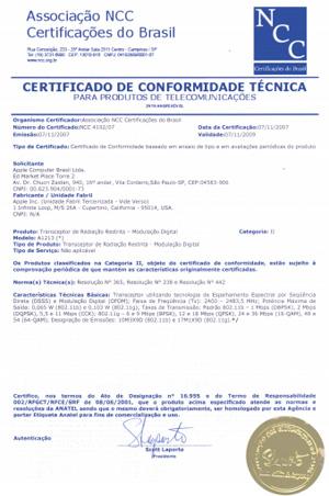 Certificado emitido pelo NCC para o iPod Touch