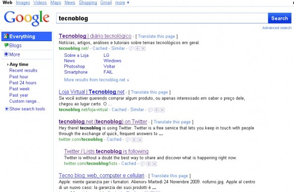 Novo Google (clique para ampliar)