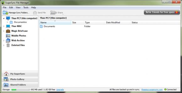 Pastas sincronizadas no computador com Windows 7. (Clique para ampliar)