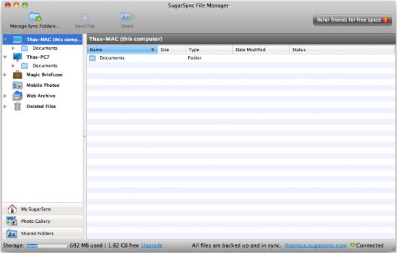 SugarSync Manager no Mac OS Snow Leopard. (Clique para ampliar)