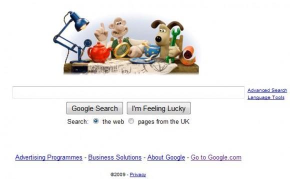 Doogle em homenagem à animação Wallace & Gromit