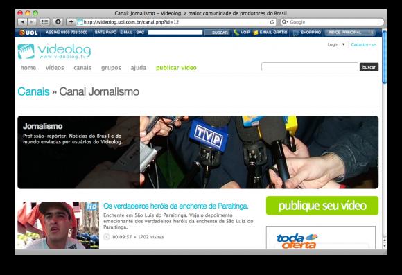 Canais como o de Jornalismo têm layout personalizado. Clique para ampliar. (Reprodução)