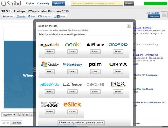 Scribd: seleção do dispositivo para envio de conteúdo. Clique para ampliar.